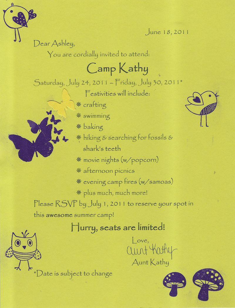 Camp Kathy Letter